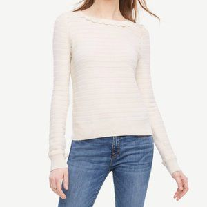 NWT ANN TAYLOR Scallop Sweater Winter White